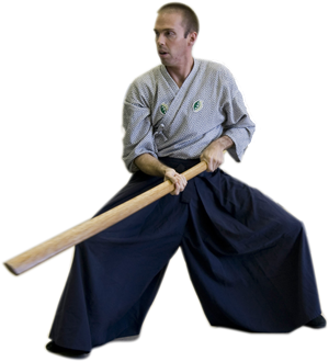 Dojo-cho Andy Keyworth leads Kenjutsu (sword technique) practice
